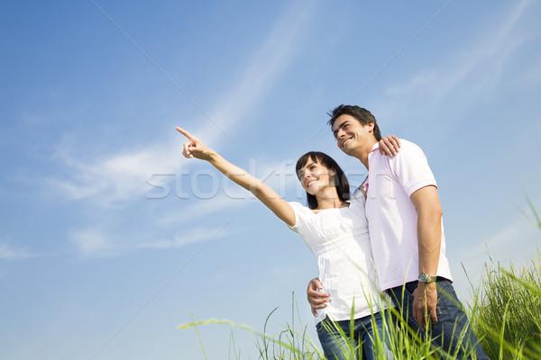 Weide hand lucht glimlachend Stockfoto © diego_cervo