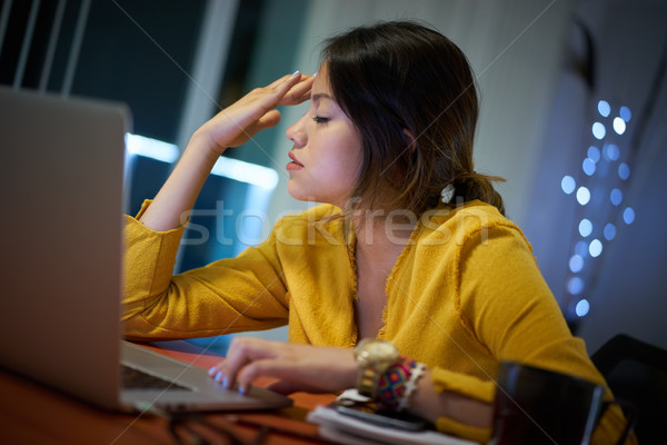 Girl College Student With Headache Studying At Night Stock photo © diego_cervo