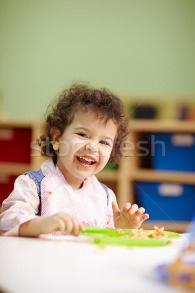 Сток-фото: девочку · еды · обед · детский · сад · Hispanic · женщины