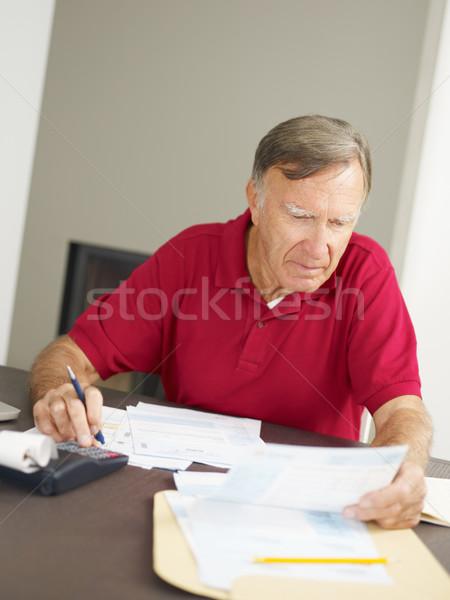 Idős férfi otthoni pénzügyek copy space otthon férfiak Stock fotó © diego_cervo