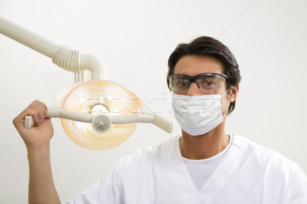Foto stock: Dentista · luz · homem · trabalhando · máscara