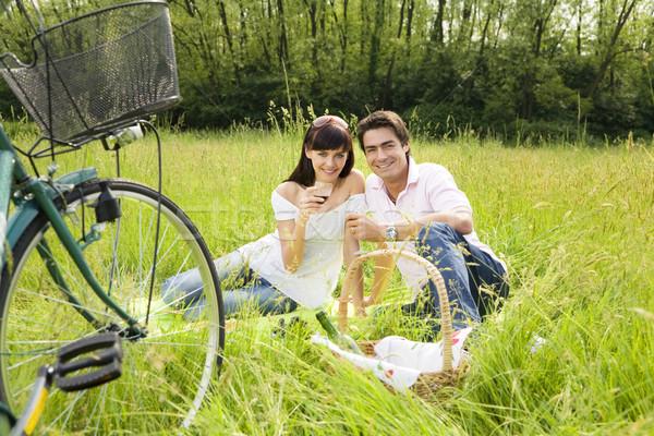 Weide paar picknick park glimlachend naar Stockfoto © diego_cervo