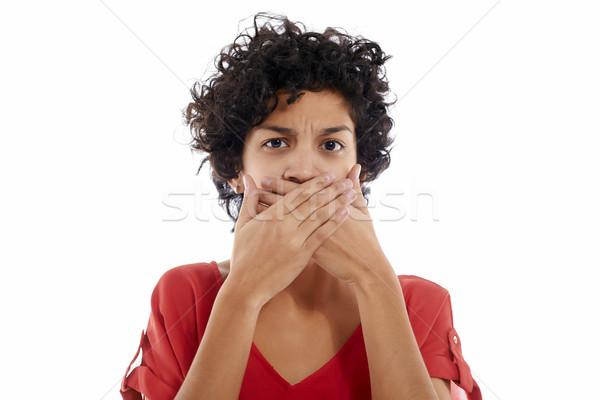 sad hispanic woman with hands on mouth Stock photo © diego_cervo
