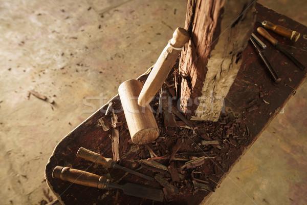Fa szobrász véső kalapács munka szerszámok Stock fotó © diego_cervo