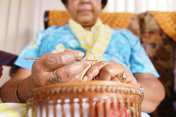 Senior Woman In Old People Home Knitting Whool Stock photo © diego_cervo