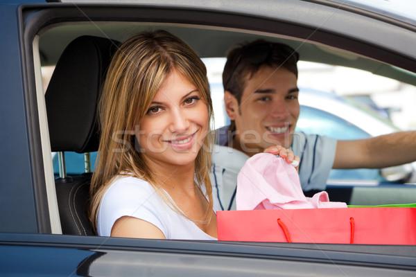 Foto stock: Pessoas · carro · compras · retrato · mulher