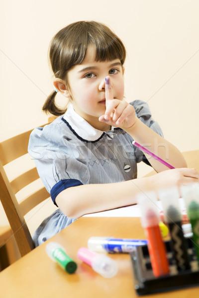 子供 女の子 演奏 色 指 唇 ストックフォト © diego_cervo