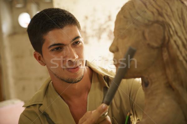 Sculpteur jeunes artiste travail sculpture homme Photo stock © diego_cervo