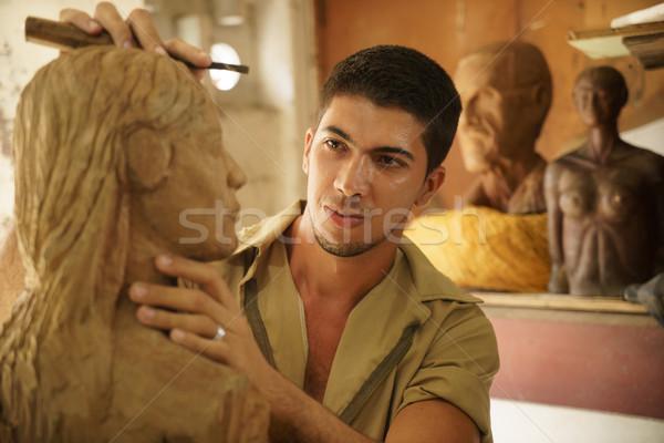 Stockfoto: Beeldhouwer · jonge · kunstenaar · werken · sculptuur · man