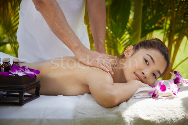 Boldog ázsiai nő mosolyog masszázs fürdő fiatal Stock fotó © diego_cervo