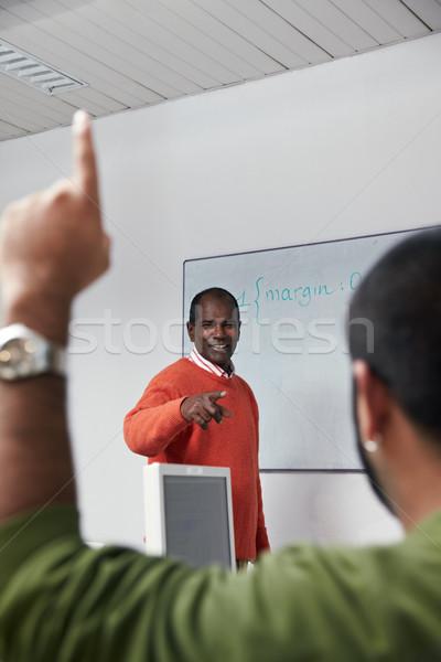 Leraar studenten computer klasse computerlokaal latino Stockfoto © diego_cervo