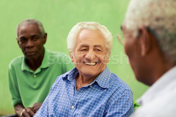 Stock fotó: Csoport · öreg · fekete · kaukázusi · férfiak · beszél