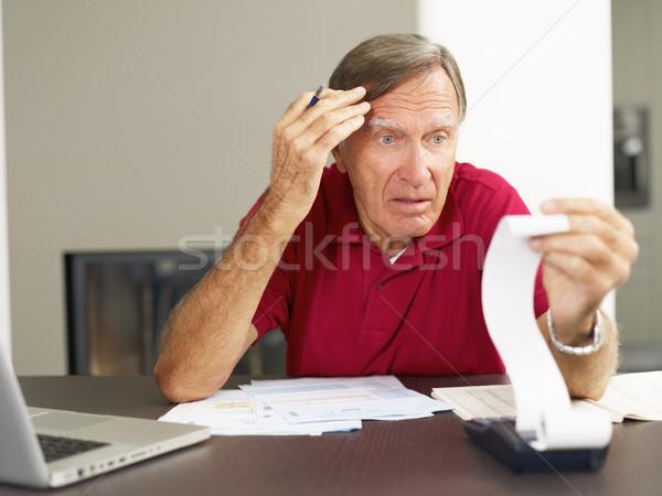 Idős férfi otthoni pénzügyek aggódó copy space kezek Stock fotó © diego_cervo