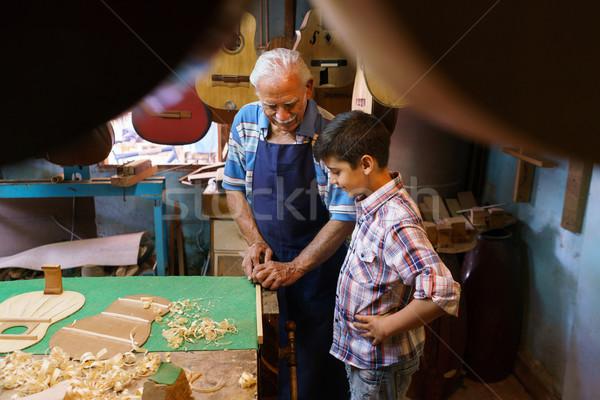 Alten Lehre Enkel Junge Holz wenig Stock foto © diego_cervo