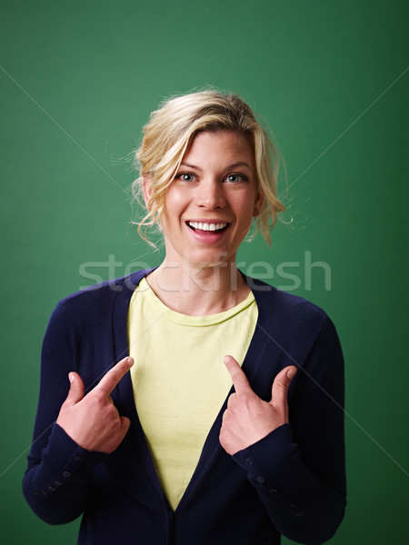woman pointing at herself, studio shot Stock photo © diego_cervo