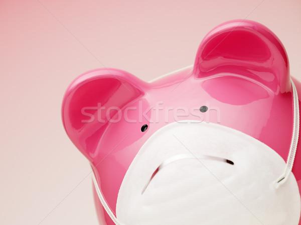 Spaarvarken masker exemplaar ruimte ruimte varken roze Stockfoto © diego_cervo