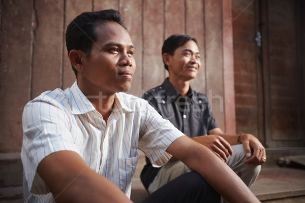 ストックフォト: 2 · 小さな · アジア · 男性 · 笑みを浮かべて · 男性