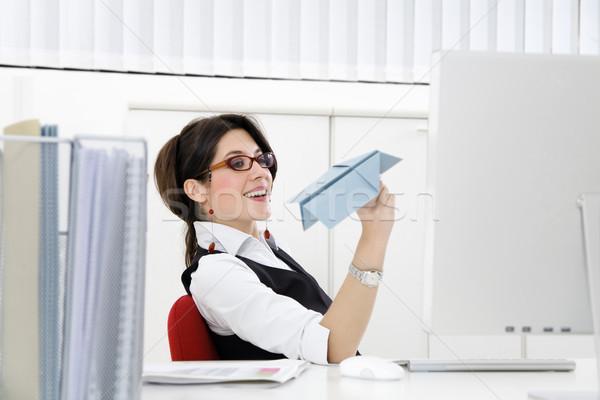 ストックフォト: ビジネス · 作業 · 小さな · 女性実業家 · 紙飛行機