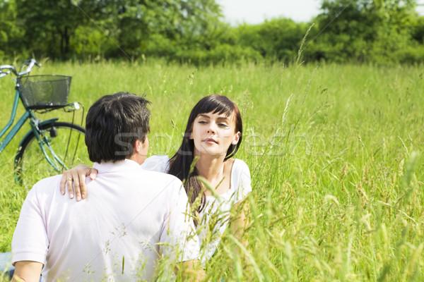草原 屋外 座って 女性 見える ストックフォト © diego_cervo