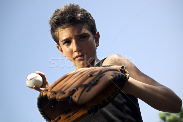 Sport, baseball and kids, portrait of child throwing ball Stock photo © diego_cervo