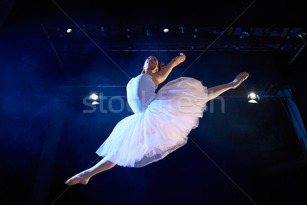 female classic dancer jumping mid air during ballet Stock photo © diego_cervo