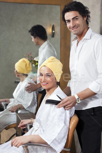 美容院 顧客 見える カメラ 笑みを浮かべて 男 ストックフォト © diego_cervo