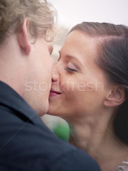 Adam kadın öpüşme gülen öpücük erkek arkadaş Stok fotoğraf © diego_cervo
