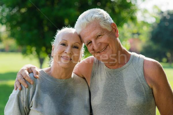Foto stock: Retrato · ancianos · Pareja · fitness · parque · feliz