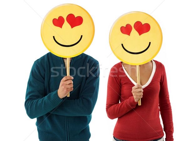 couple with emoticon Stock photo © diego_cervo