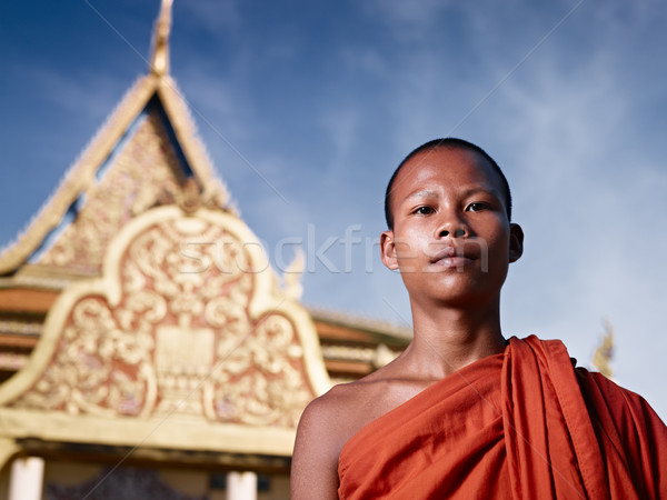 Portrait of buddhist monk near temple, Cambodia, Asia Stock photo © diego_cervo