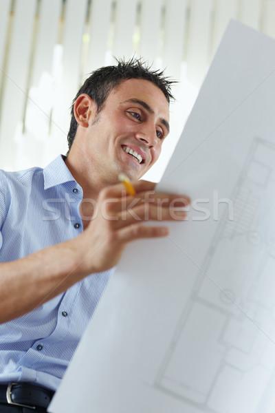Mannelijke architect portret volwassen lezing blauwdruk Stockfoto © diego_cervo