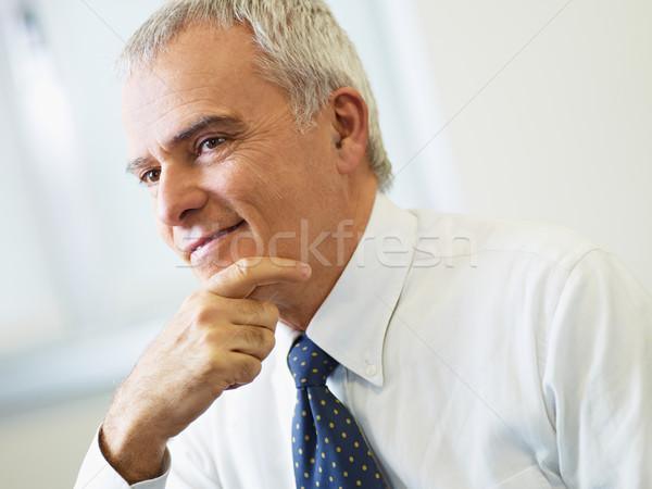 Stock fotó: érett · üzletember · gondolkodik · portré · üzletember · kéz