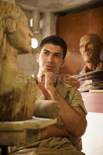 люди, работающие счастливым художник искусства древесины скульптуры Сток-фото © diego_cervo