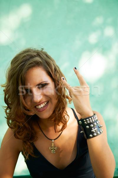Retrato mulher jovem heavy metal estilo jovem feminino Foto stock © diego_cervo