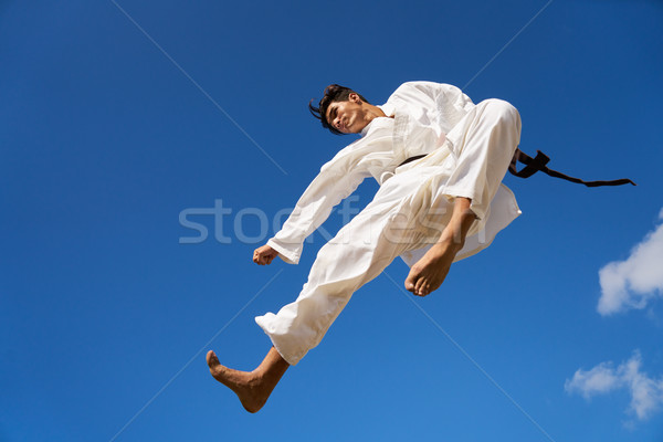 Extreme Sport Hispanic Athlete Jumping During Karate Fight Stock photo © diego_cervo