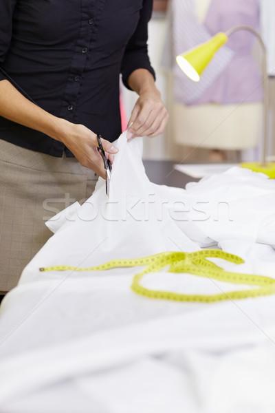 Stockfoto: Vrouw · werken · fashion · design · studio · jonge · latino