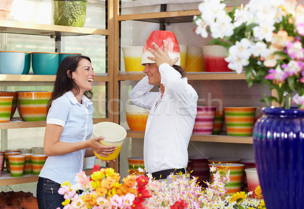 Stock photo: couple in flower shop