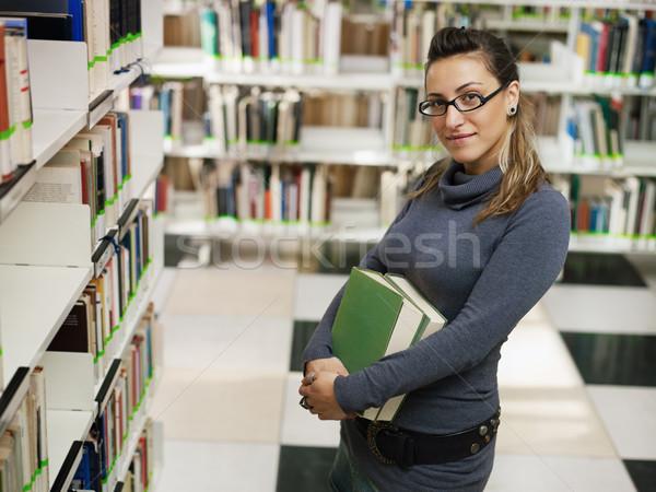 Stock fotó: Portré · lány · könyvtár · női · főiskolai · hallgató · könyvek