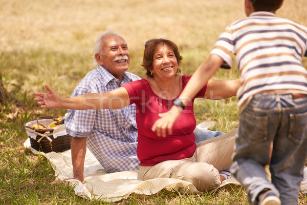 Grandparents Senior Couple Hugging Young Boy At Picnic Stock photo © diego_cervo