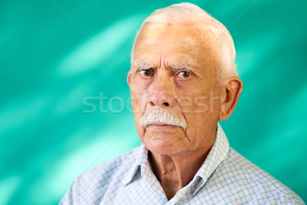 Real People Portrait Sad Elderly Hispanic Man White Grandfather Stock photo © diego_cervo