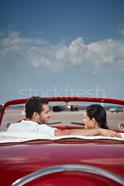 Hombre mujer hermosa cabriolé coche amigo Foto stock © diego_cervo