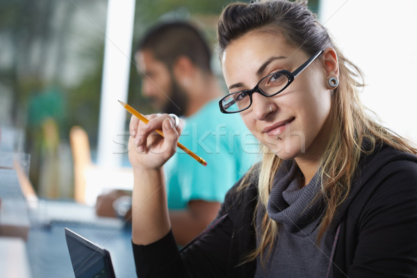 Stock photo: group of two people in library