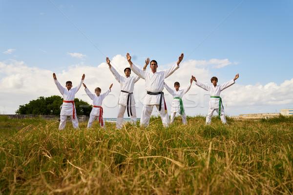 Karate school trainers jonge jongens tonen Stockfoto © diego_cervo
