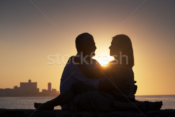 Active retired people, romantic elderly couple in love, kissing  Stock photo © diego_cervo