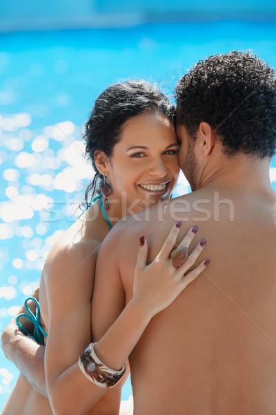 Foto stock: Luna · de · miel · Resort · feliz · jóvenes · recién · casados