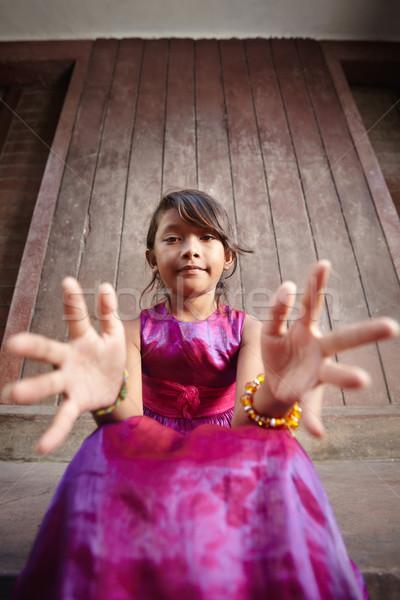 ストックフォト: かわいい · 幸せ · アジア · 少女 · 笑みを浮かべて