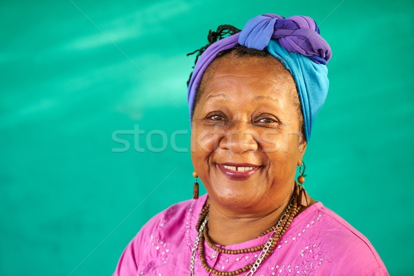 Real People Portrait Old Black Woman Smiling At Camera Stock photo © diego_cervo