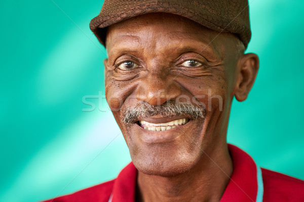 Seniors People Portrait Happy Old Black Man With Hat Stock photo © diego_cervo