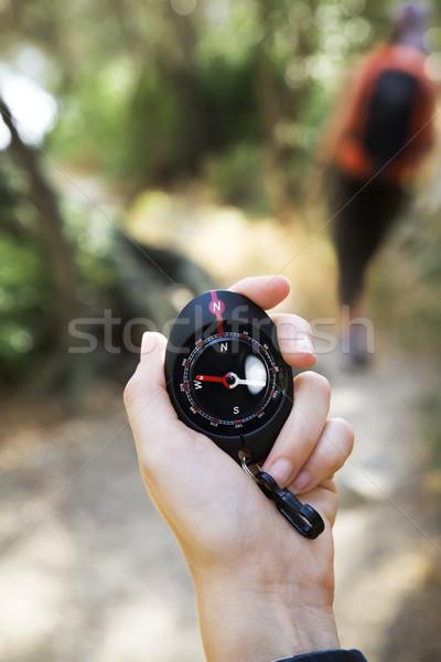 Turystyka kobieta kompas podróży Zdjęcia stock © diego_cervo