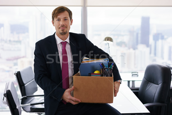 Portrait Just Hired Business Man With Crate Box Smiling Stock photo © diego_cervo